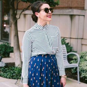 Topshop 'Olivia' paneled stripe shirt